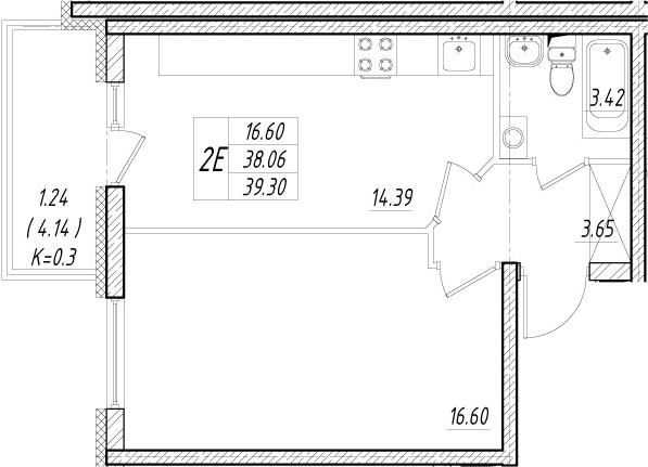 2-к.кв (евро), 42.2 м²