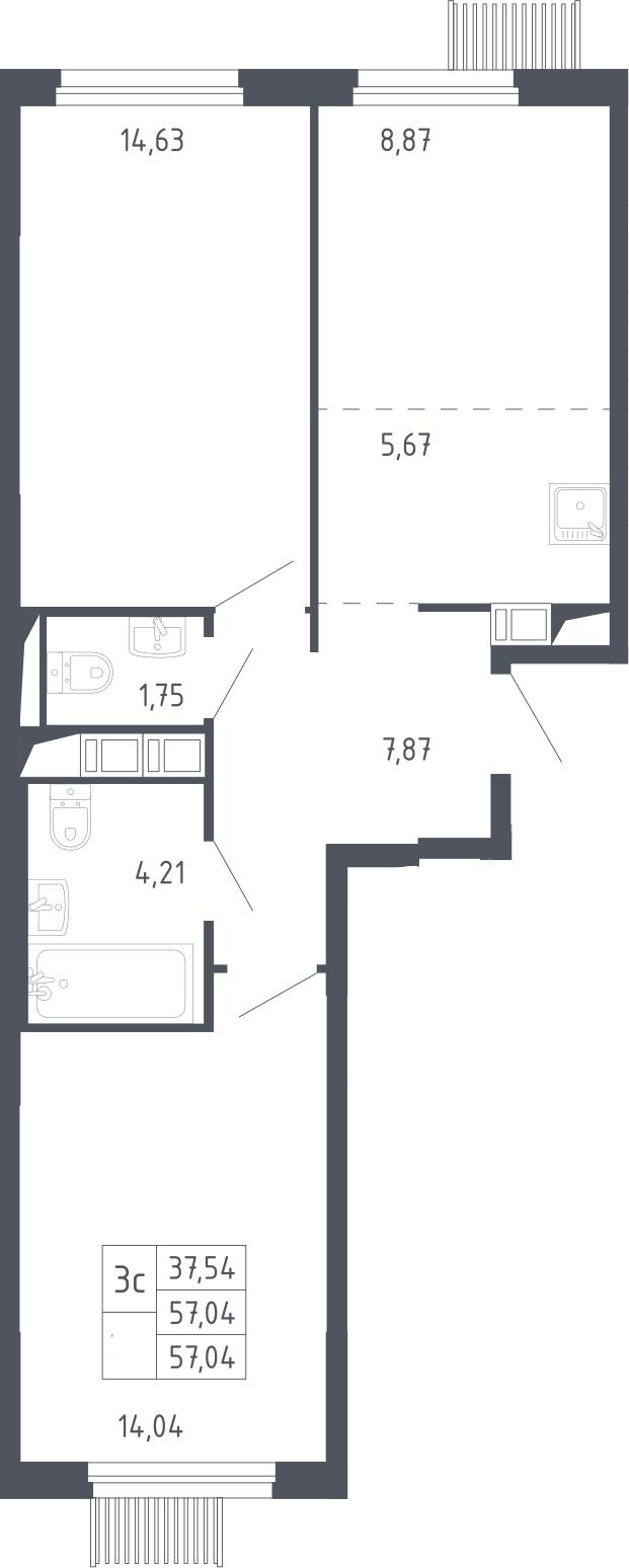 3Е-к.кв, 57.04 м², 13 этаж