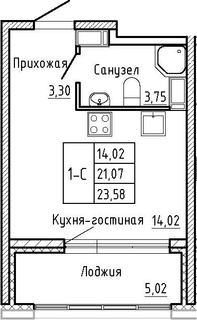 Студия, 26.09 м²