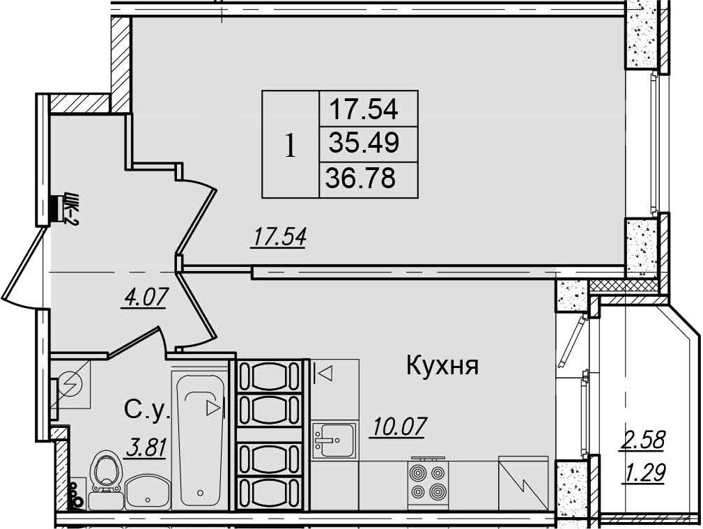 1-к.кв, 38.07 м²