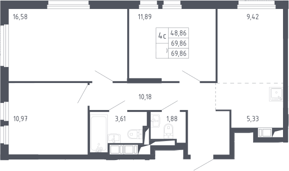 4Е-к.кв, 69.86 м²