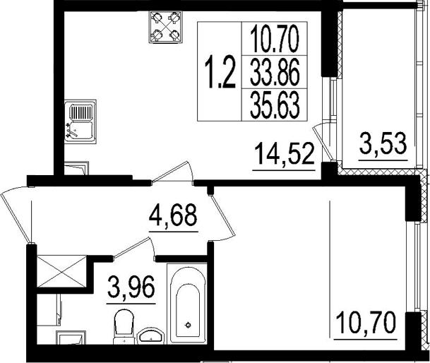 2Е-к.кв, 33.86 м²