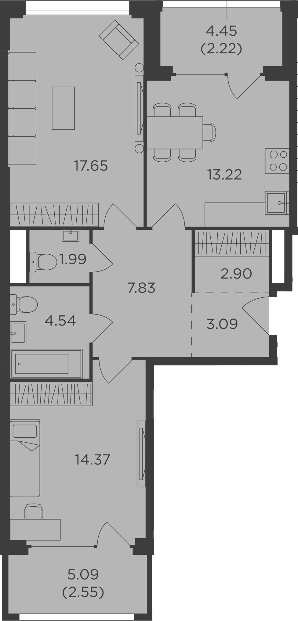 2-комнатная, 70.36 м²– 2