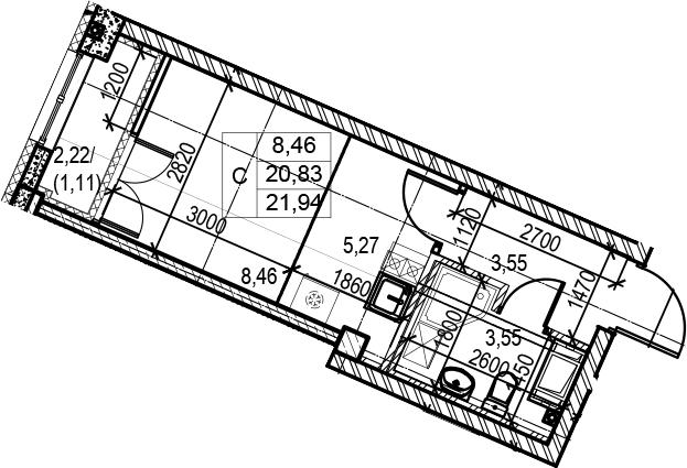 Студия, 23.05 м²