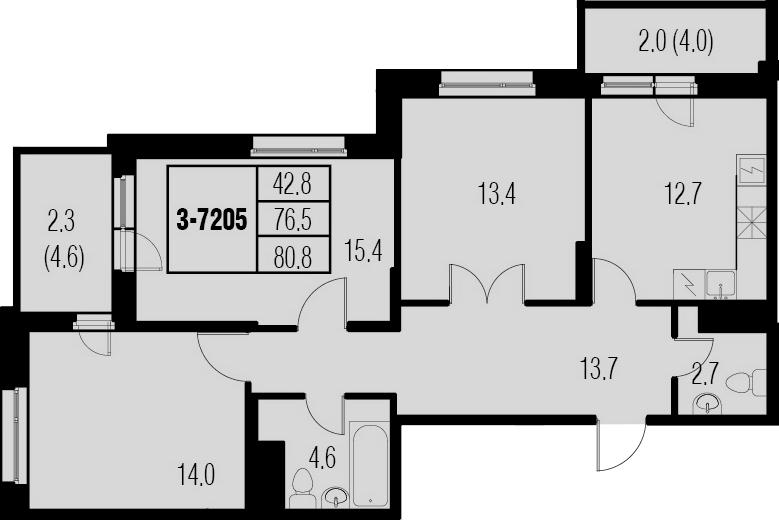3-к.кв, 80.8 м²
