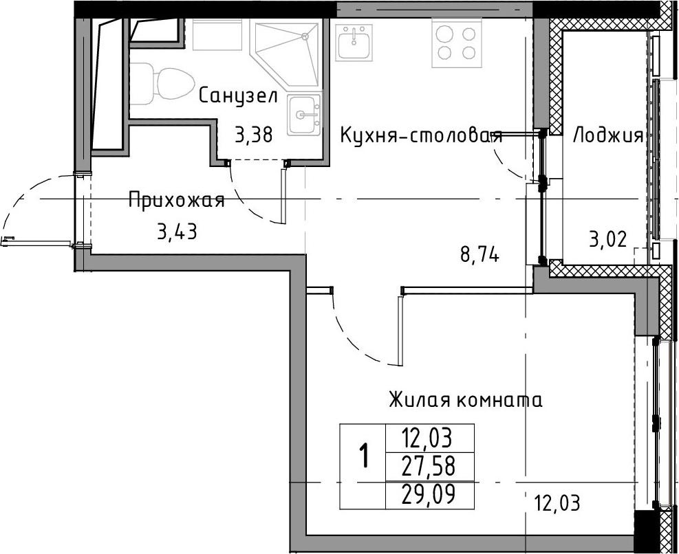 1-к.кв, 29.09 м²