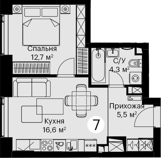 2-к.кв (евро), 39.1 м²