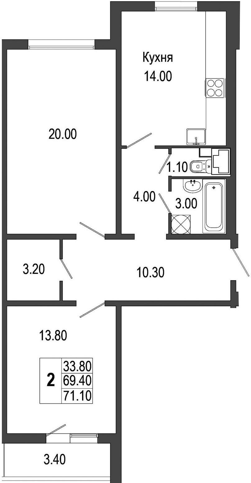 2-к.кв, 72.8 м²