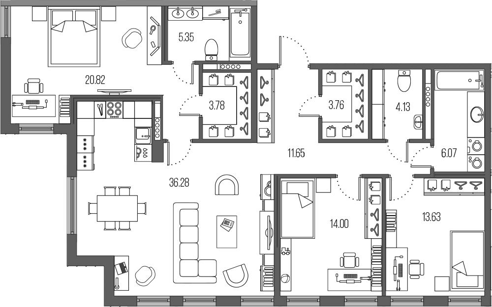 4-к.кв (евро), 119.47 м²