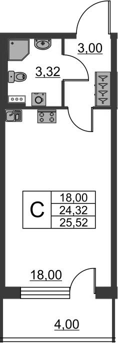 Студия, 28.32 м²