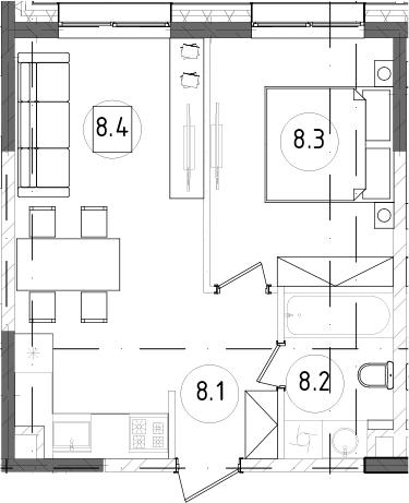 2Е-к.кв, 36.84 м², 2 этаж