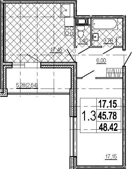 2Е-комнатная, 48.42 м²– 2