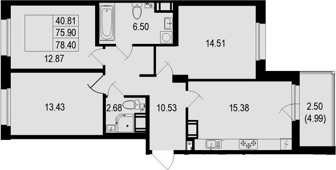 4Е-комнатная, 78.4 м²– 2