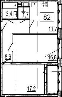 2-к.кв, 61.6 м², 6 этаж