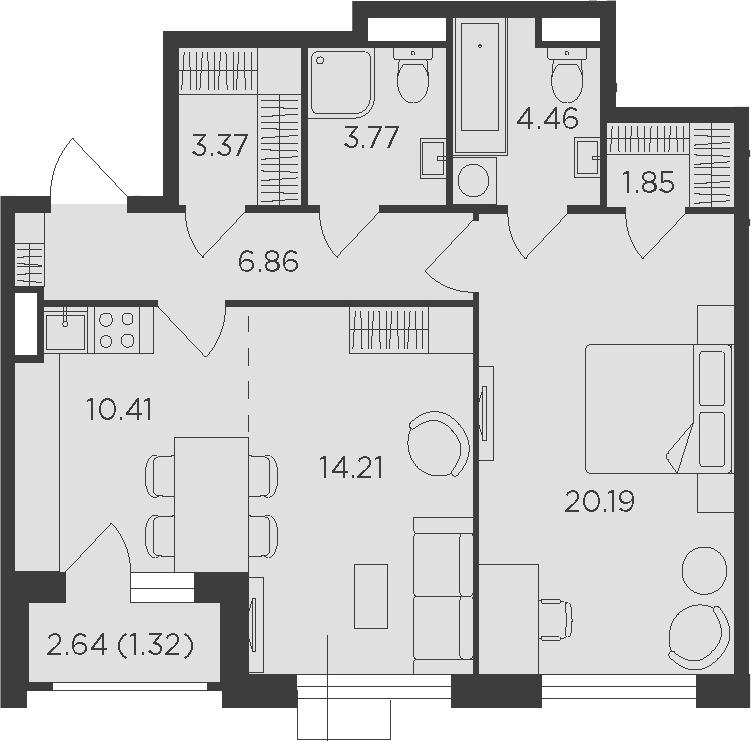 2Е-к.кв, 66.44 м²