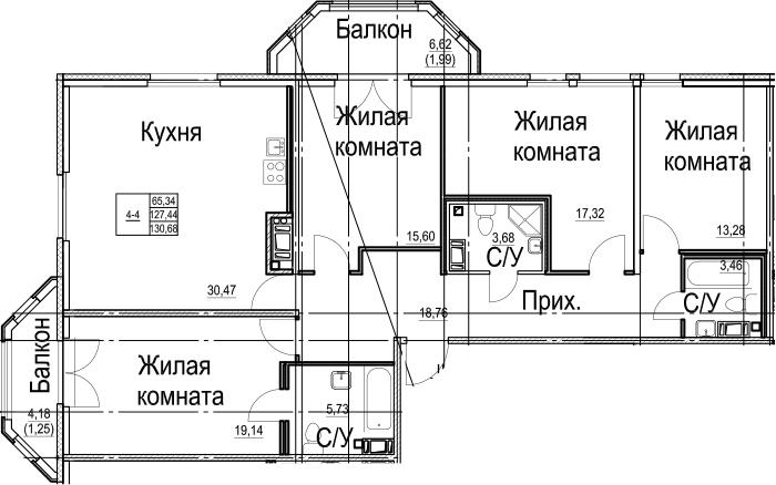 5-к.кв (евро), 138.24 м²
