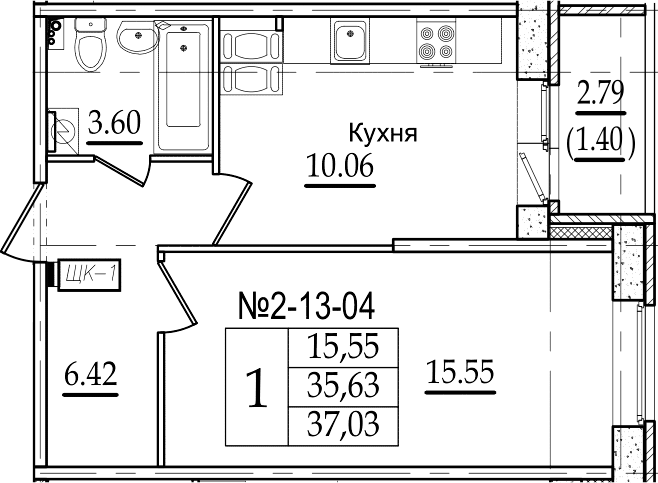 1-комнатная квартира, 37.03 м², 13 этаж – Планировка