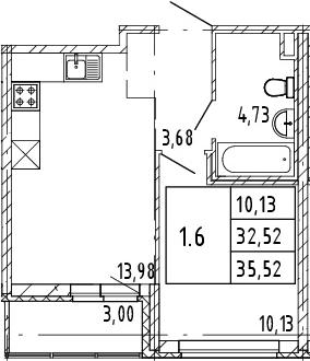 2Е-к.кв, 32.52 м², 2 этаж