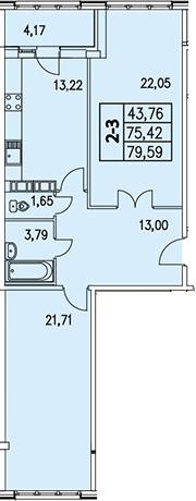 2-комнатная, 77.46 м²– 2
