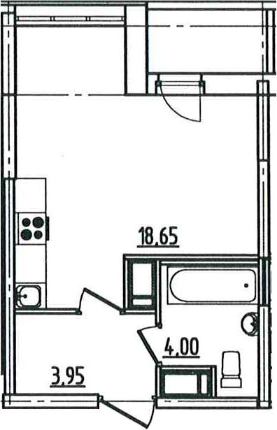 Студия, 27.94 м², от 3 этажа