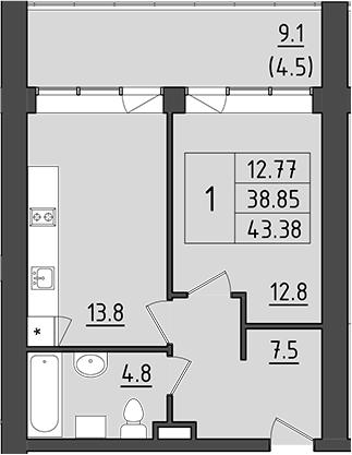 1-к.кв, 47.95 м²