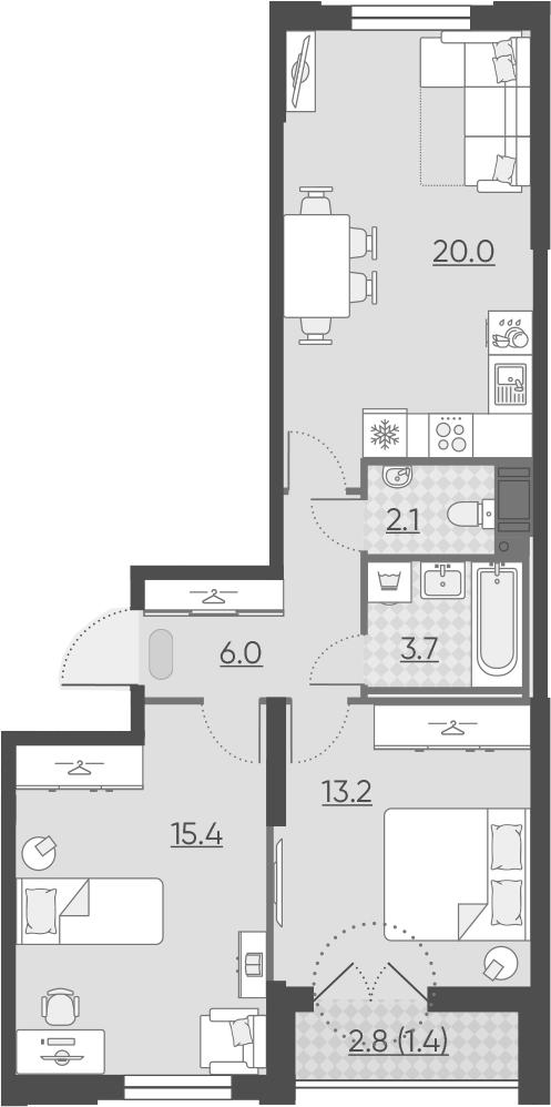 3Е-к.кв, 61.8 м², от 6 этажа