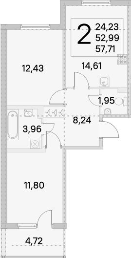 2-комнатная, 57.71 м²– 2
