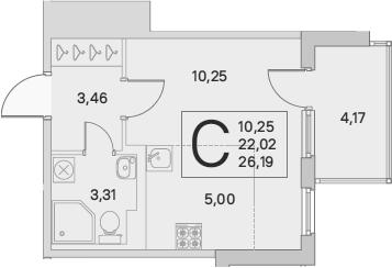 Студия, 24.11 м², 2 этаж