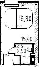 Студия, 18.3 м²