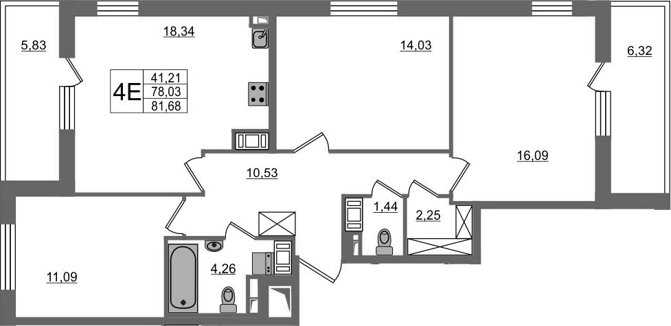 4-к.кв (евро), 90.18 м²