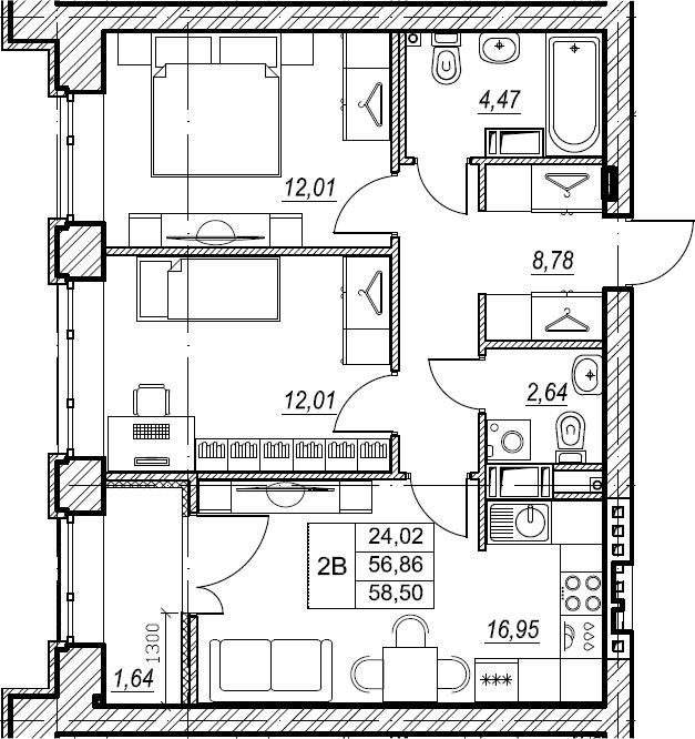 2-к.кв, 58.5 м², от 5 этажа