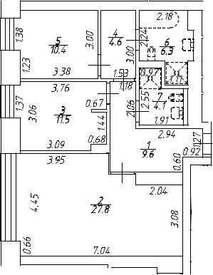 3Е-к.кв, 74.2 м², 8 этаж