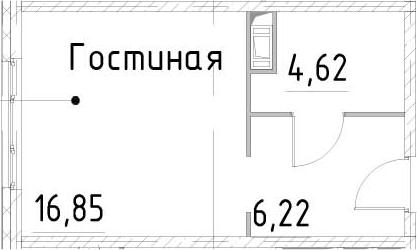 Студия, 27.69 м²