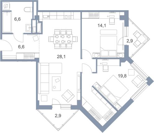 3Е-комнатная квартира, 81 м², 9 этаж – Планировка