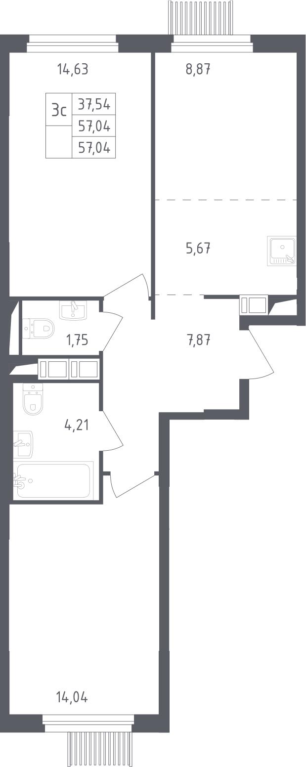 3Е-к.кв, 57.04 м², от 12 этажа