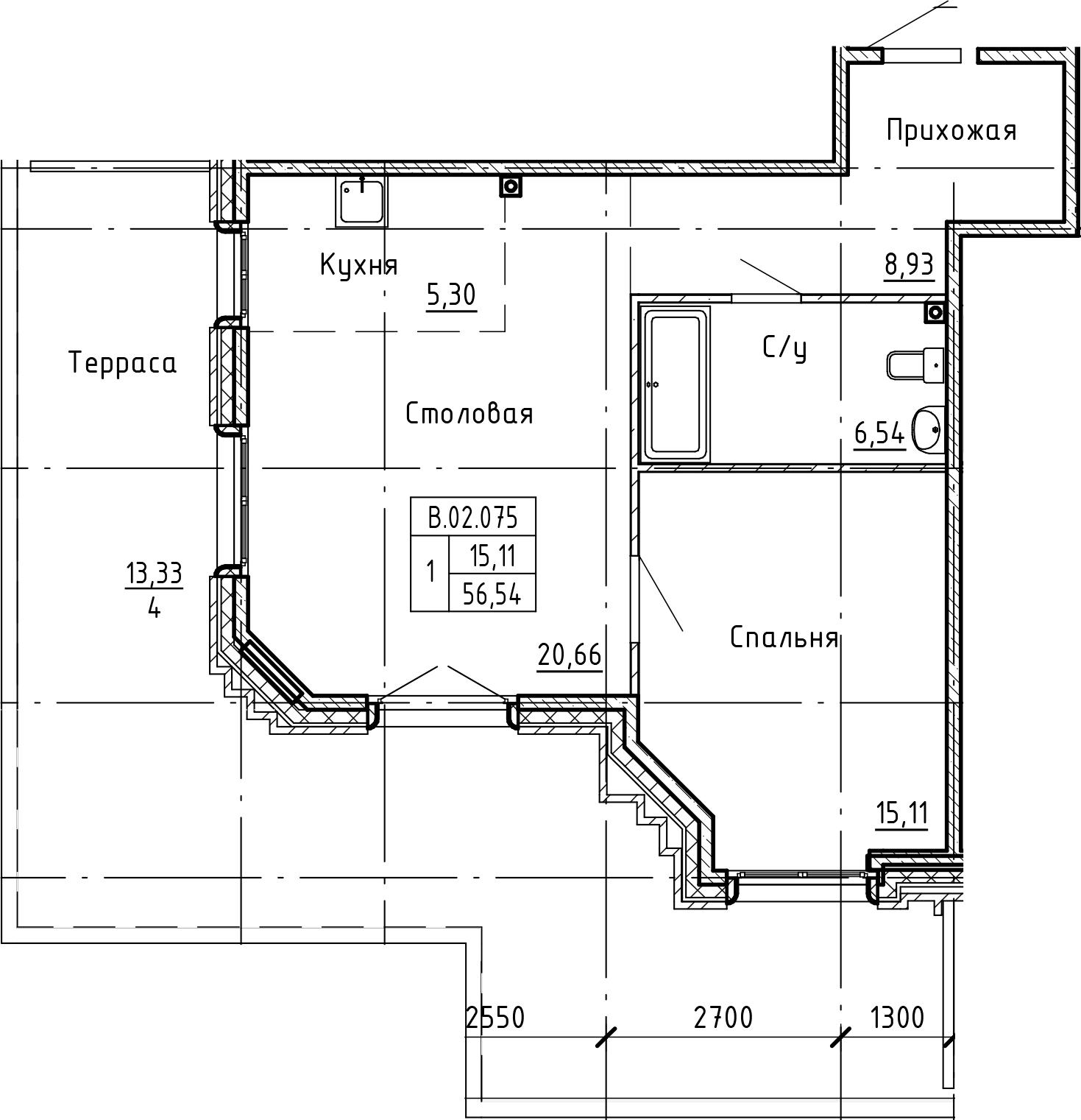 2Е-комнатная, 69.19 м²– 2