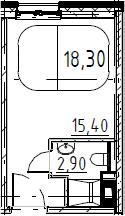 Студия, 18.3 м², 13 этаж