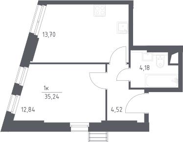 1-к.кв, 35.24 м²