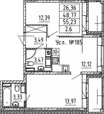 2-к.кв, 48.77 м²