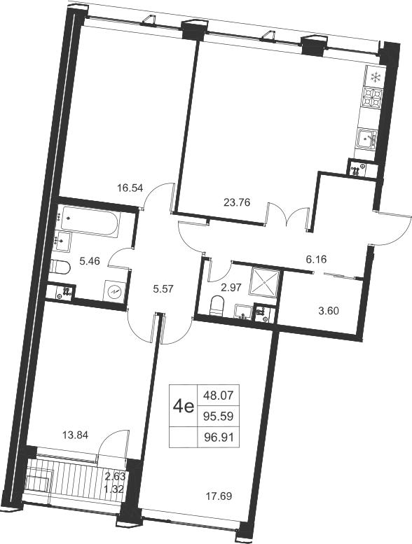 4-к.кв (евро), 98.23 м²