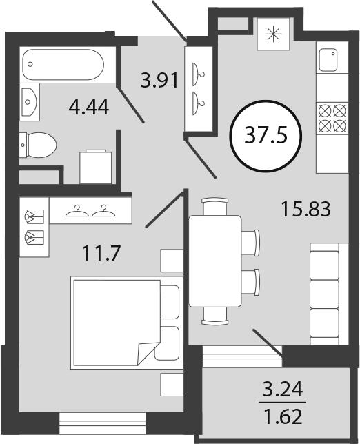 2Е-к.кв, 37.5 м², 1 этаж