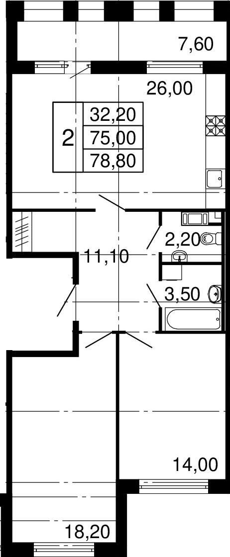 2-комнатная, 75 м²– 2