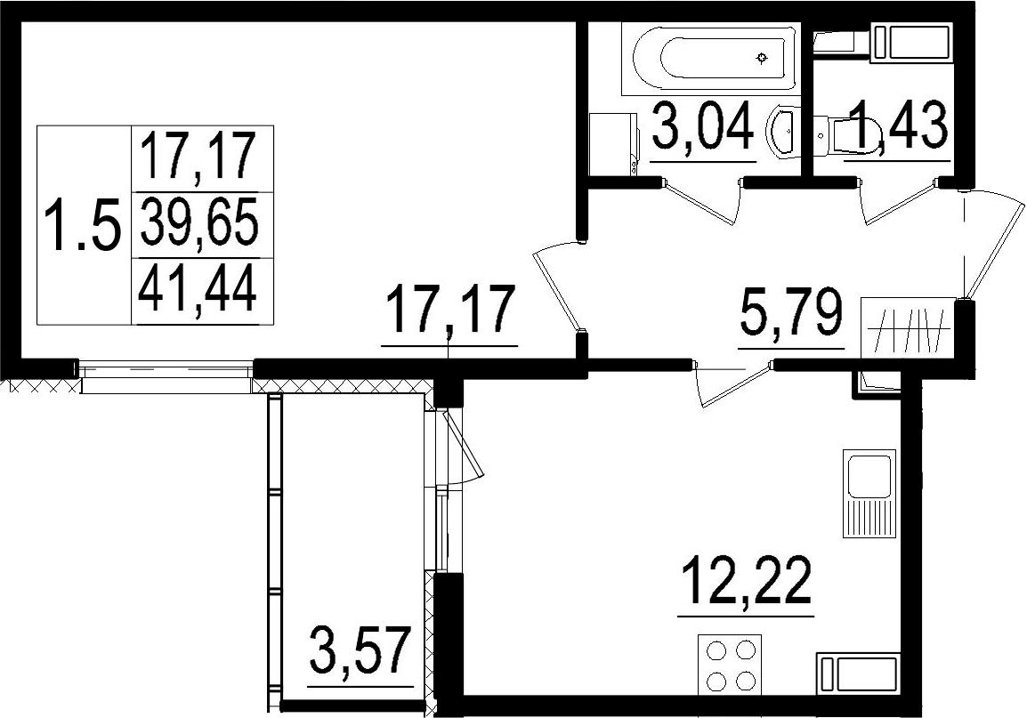 1-комнатная, 39.65 м²– 2