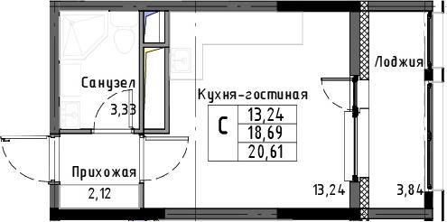 Студия, 20.61 м², 13 этаж – Планировка