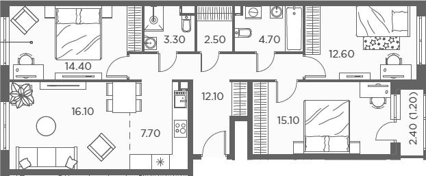 4Е-к.кв, 89.7 м²