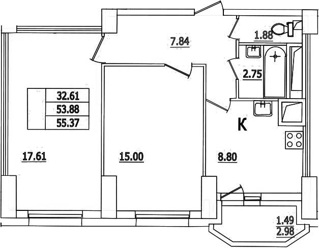 2-комнатная, 55.37 м²– 2