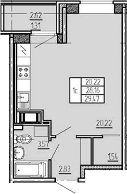 Студия, 29.47 м²