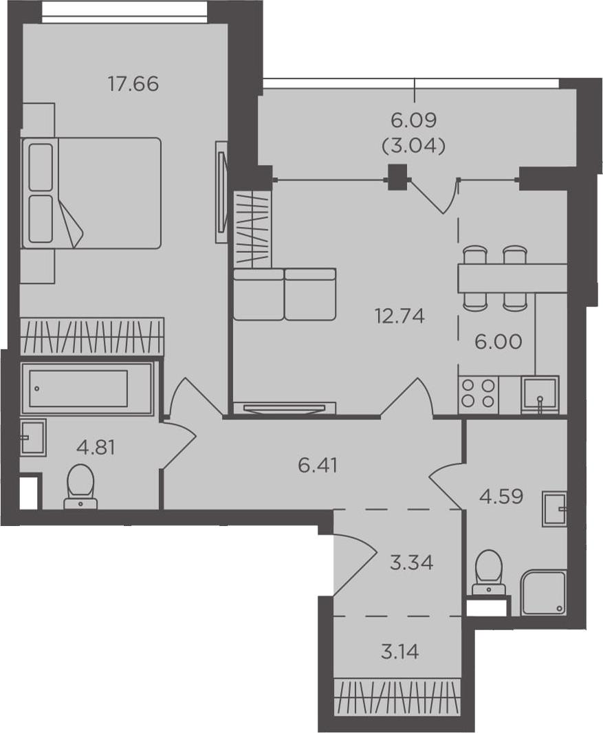 2Е-к.кв, 61.73 м², 2 этаж