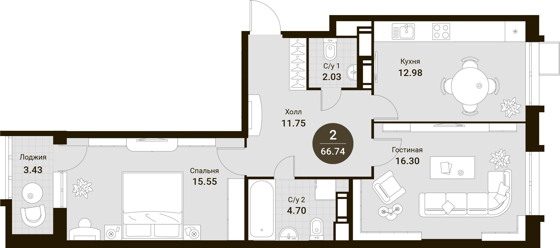 2-к.кв, 66.74 м²