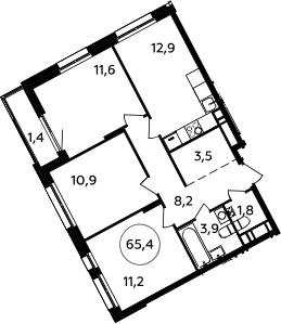 3-к.кв, 65.4 м²